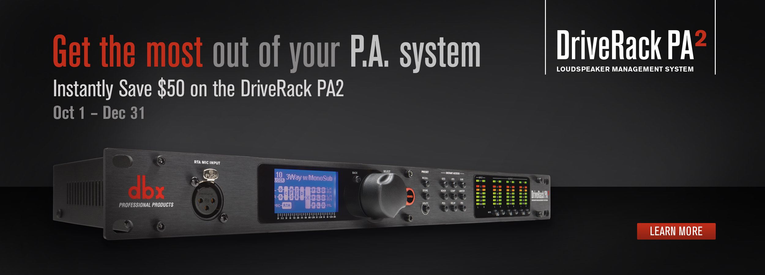 dbx DriveRackPA2 $50 Instant Rebate Promotion - Oct-Dec 2016