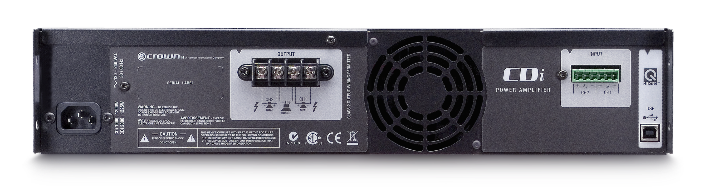 Cdi 2000 Crown Audio Professional Power Amplifiers Two Way 20 Watts Amplifier Backpanel No Top Shadow Tiny Square