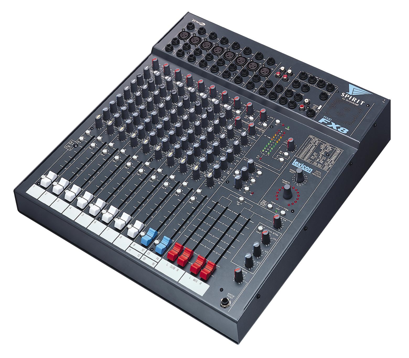 Schema Collegamento Xlr : Spirit fx8 soundcraft professional audio mixers